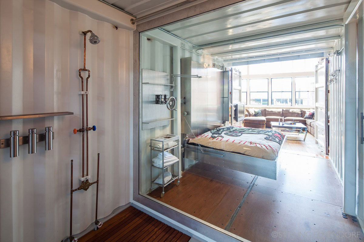 Container, Shower, Metal Bed, SF Loft in San Francisco, California by Wardell + Sagan Projekt