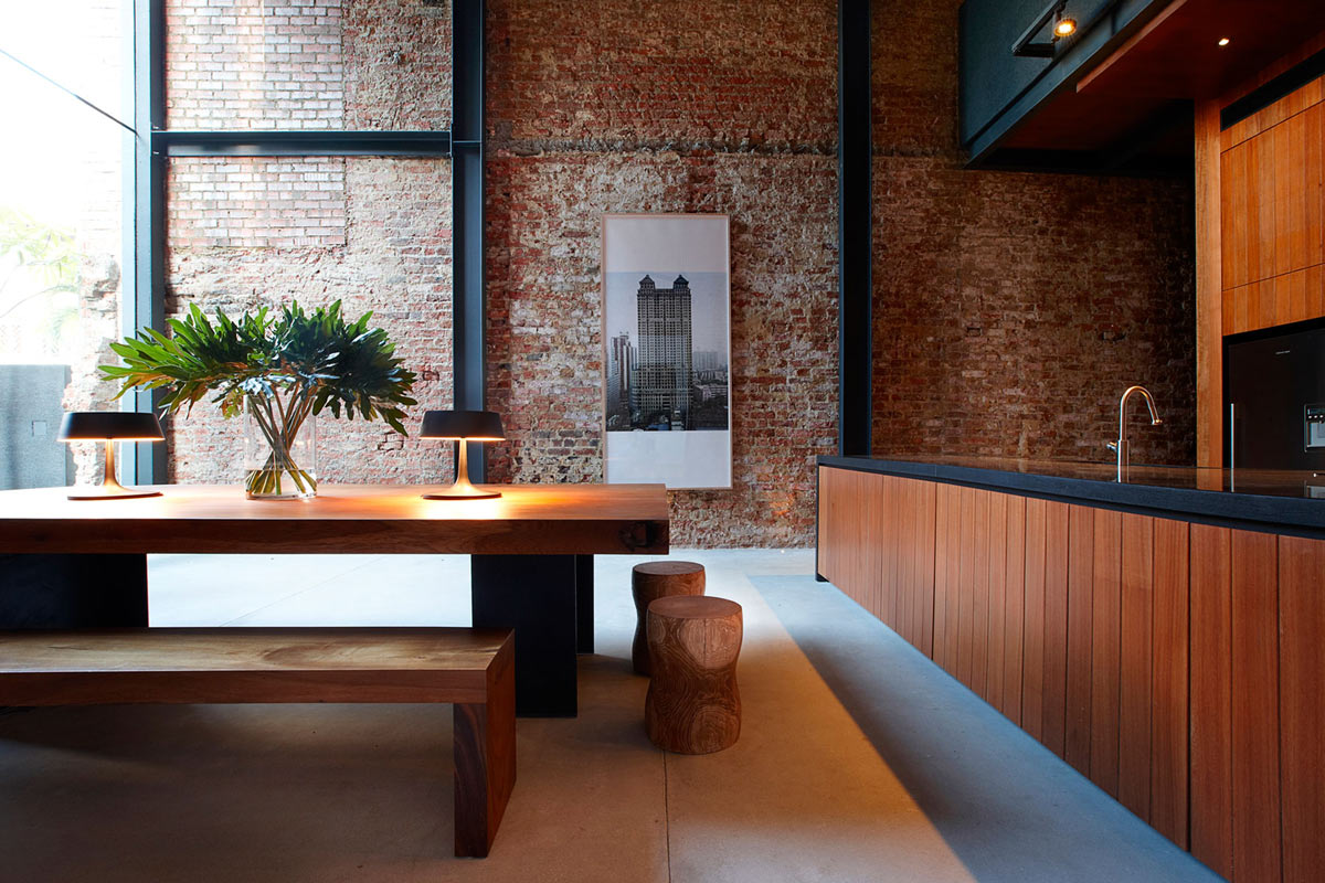 Brick Wall, Dining Table, Lucky Shophouse in Joo Chiat, Singapore