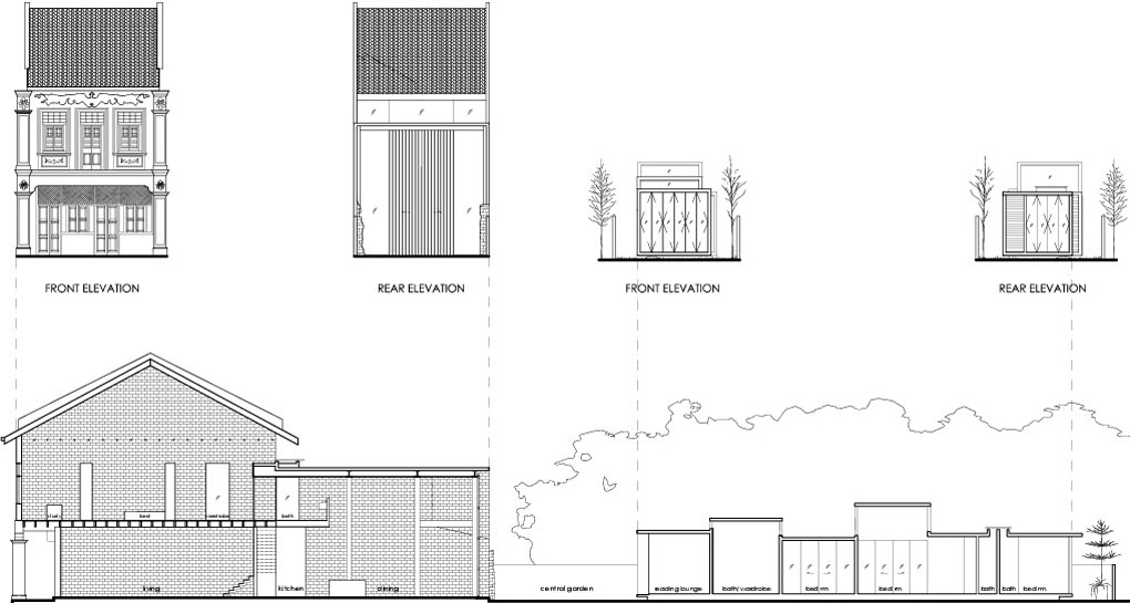 Elevations, Lucky Shophouse in Joo Chiat, Singapore