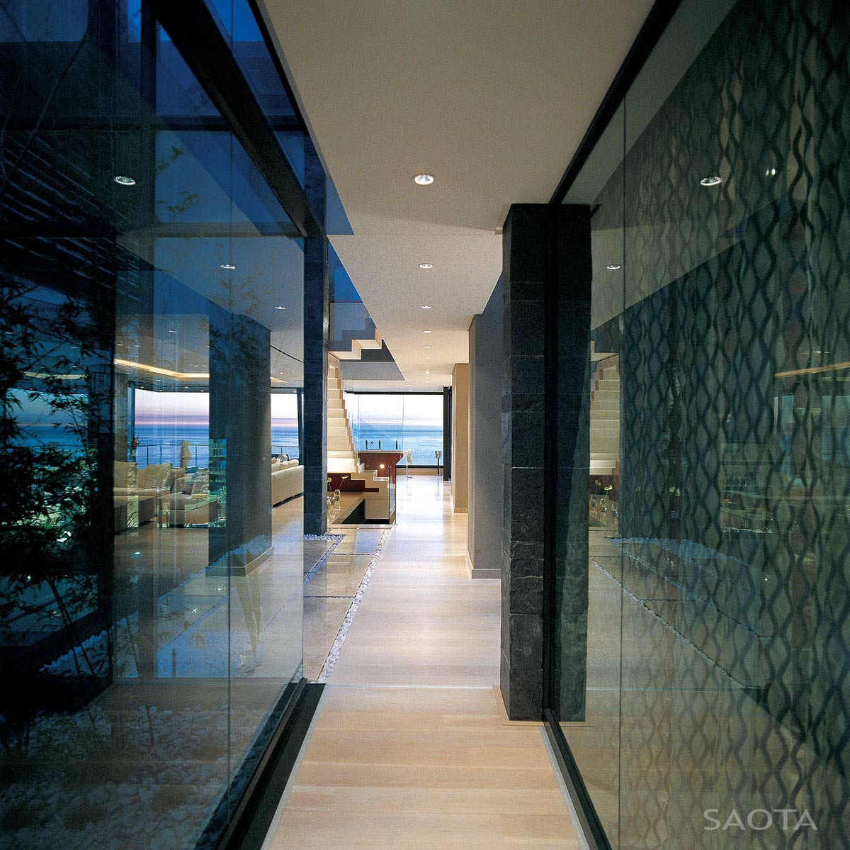Hallway, Glass Walls, St Leon 10 in Cape Town, South Africa by SAOTA and Antoni Associates