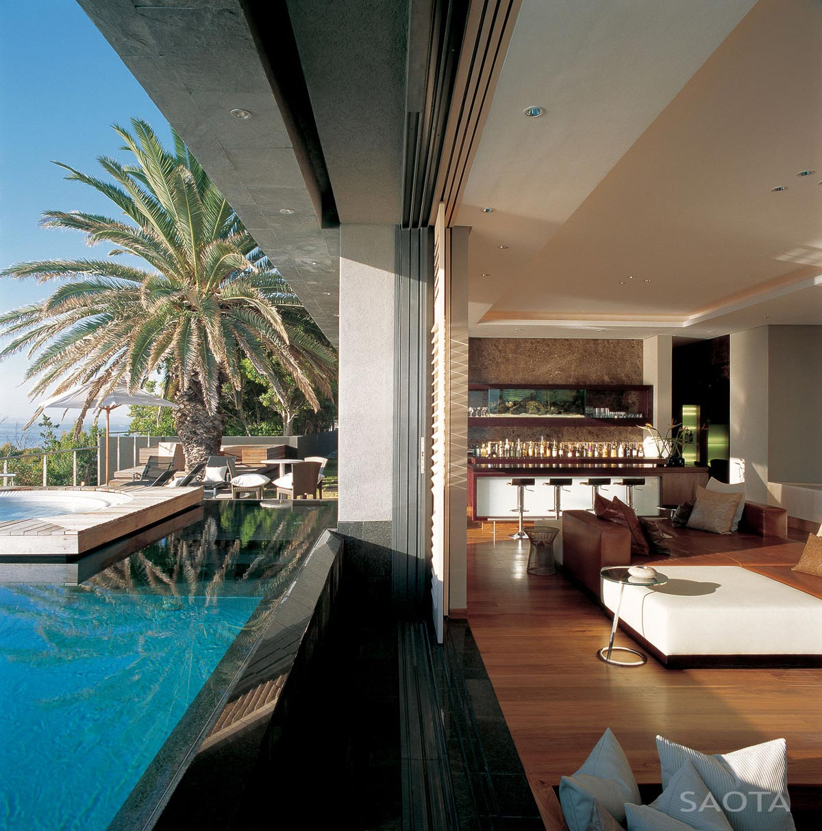 Pool, Patio Doors, Bar, Living Space, St Leon 10 in Cape Town, South Africa by SAOTA and Antoni Associates