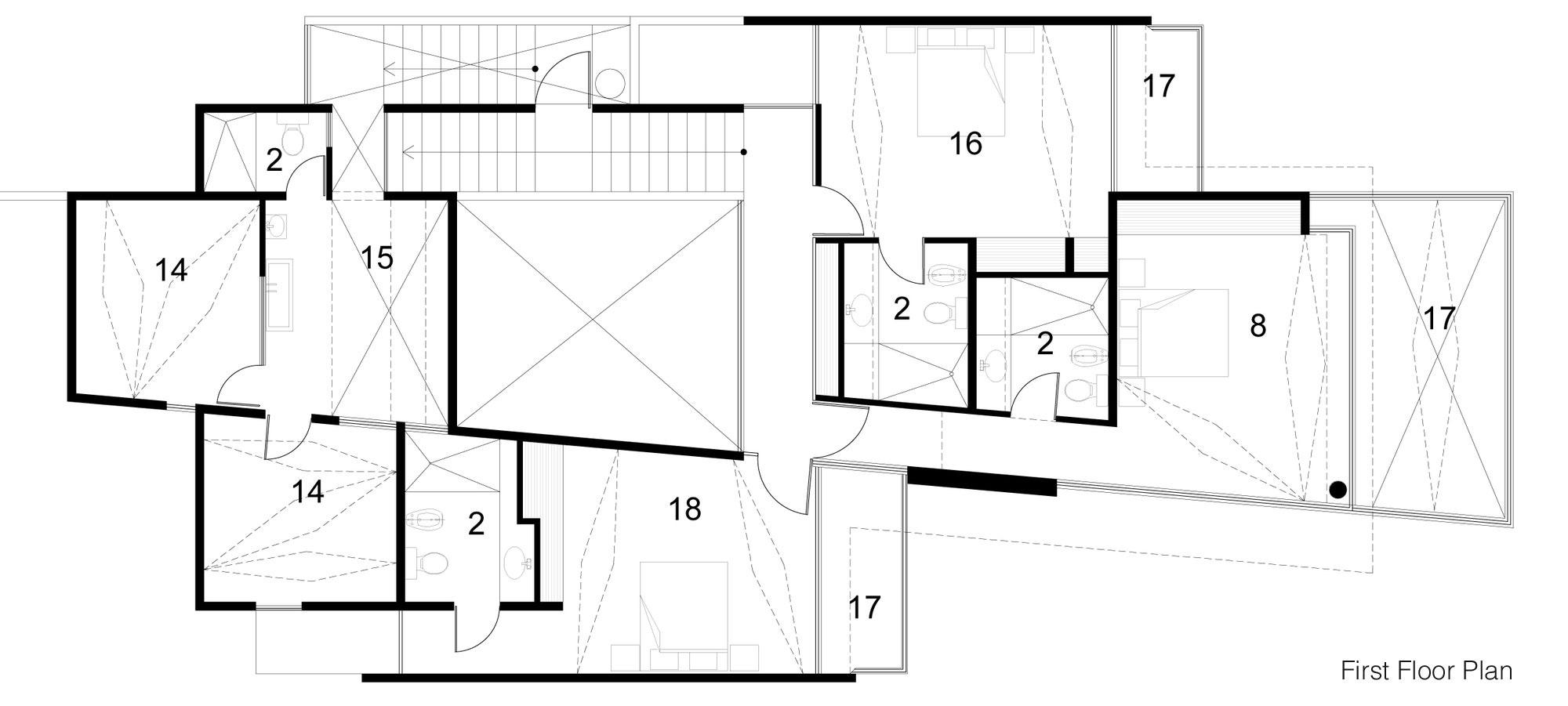 First Floor Plan, Tuunich Kanab in San Bruno, Mexico by Seijo Peon Arquitectos