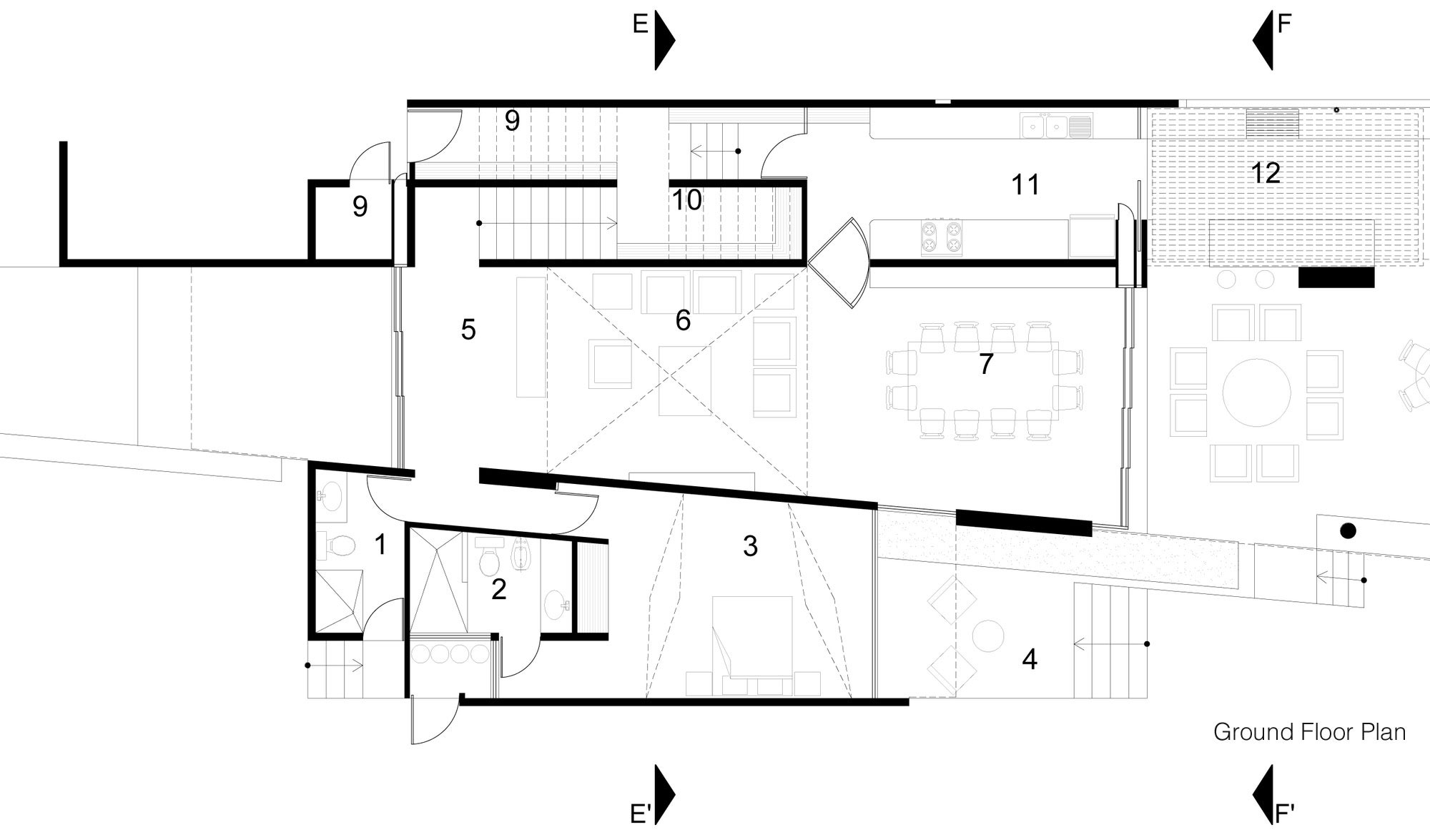 Ground Floor Plan, Tuunich Kanab in San Bruno, Mexico by Seijo Peon Arquitectos