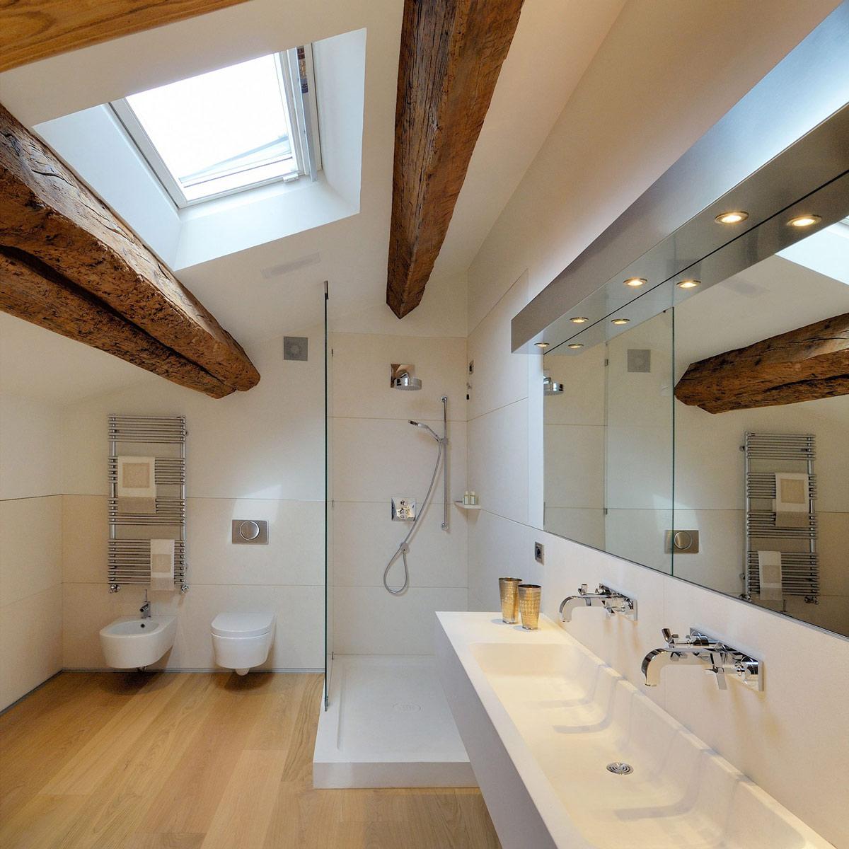 Bathroom, Shower, Beams, Penthouse in Udine, Italy by Menzo Architettura & Design