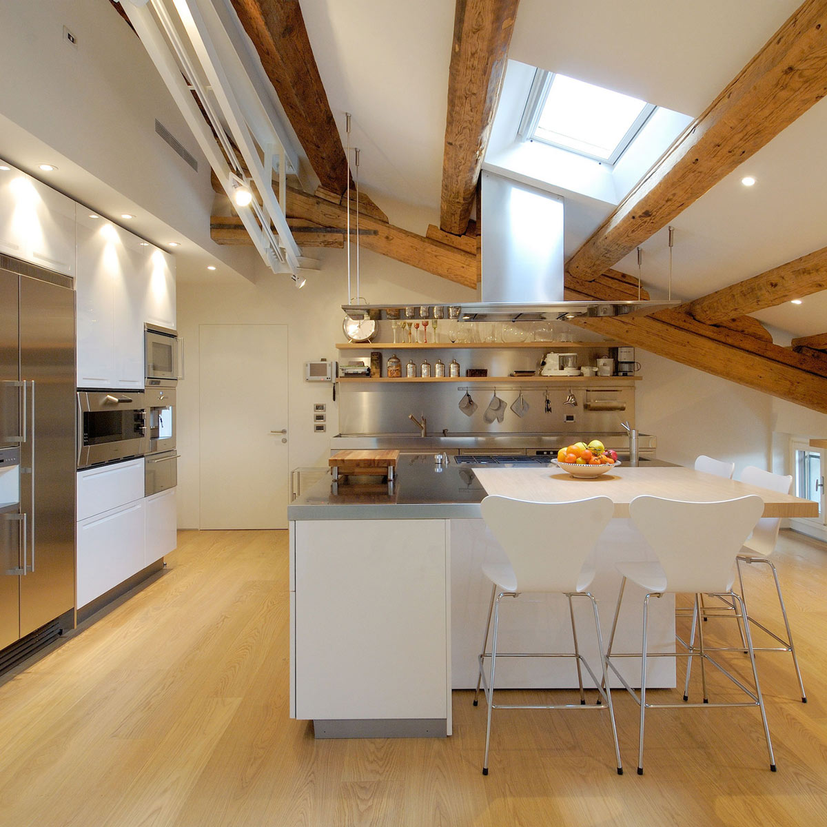 Kitchen Island, Breakfast Bar, Penthouse in Udine, Italy by Menzo Architettura & Design
