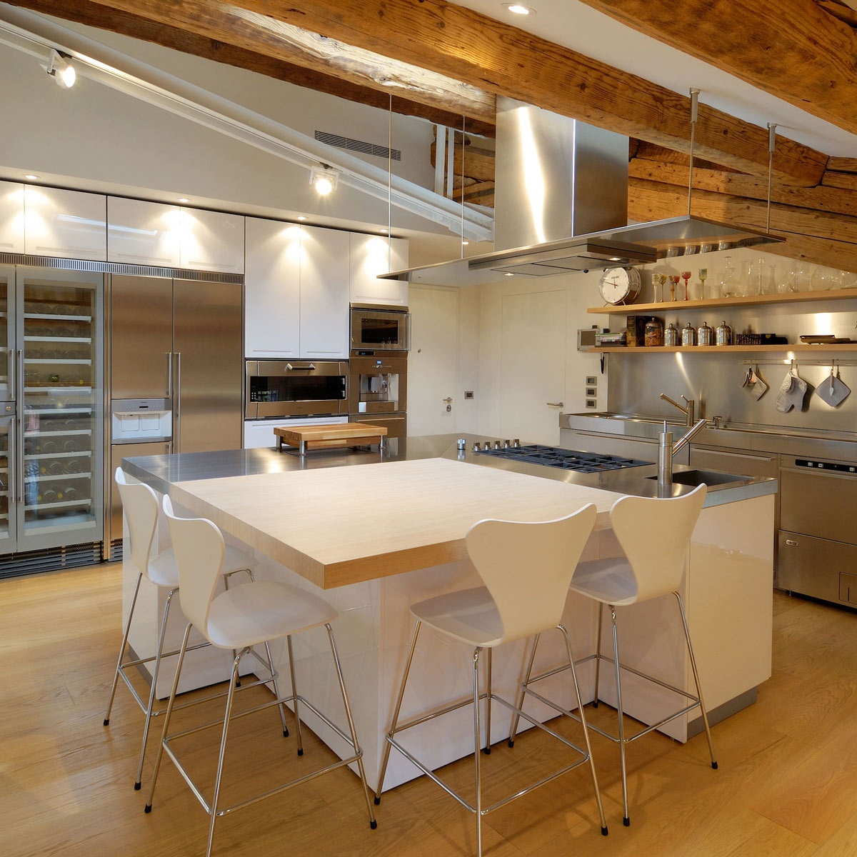 Italian Kitchen Island | Stainless Steel Units Kitchen Island Penthouse In Udine Italy By
