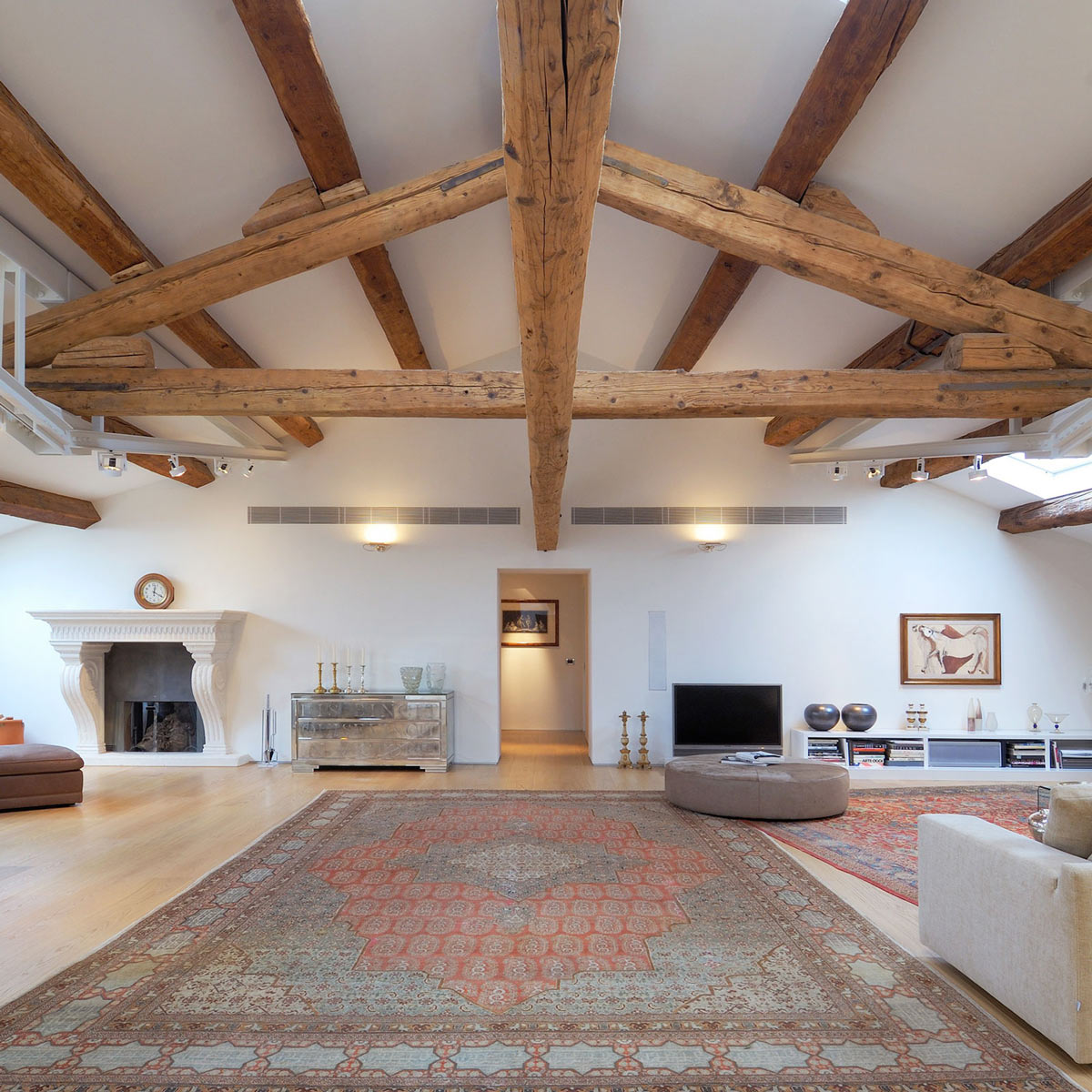 Fireplace, Rug, Living Space, Penthouse in Udine, Italy by Menzo Architettura & Design