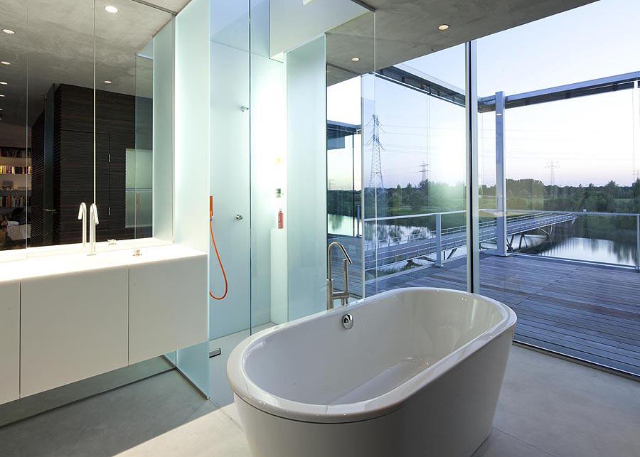 Bathroom, Balcony, Rieteiland House in Amsterdam by Hans van Heeswijk Architects