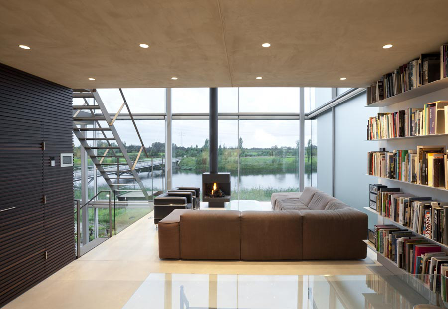 Bookshelf, Living Space, Rieteiland House in Amsterdam by Hans van Heeswijk Architects