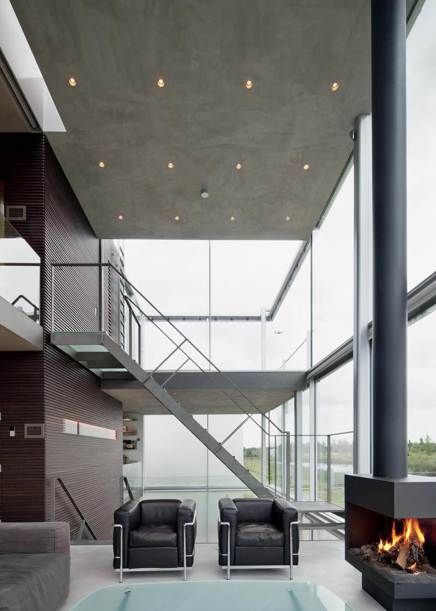 Contemporary Fireplace, Rieteiland House in Amsterdam by Hans van Heeswijk Architects