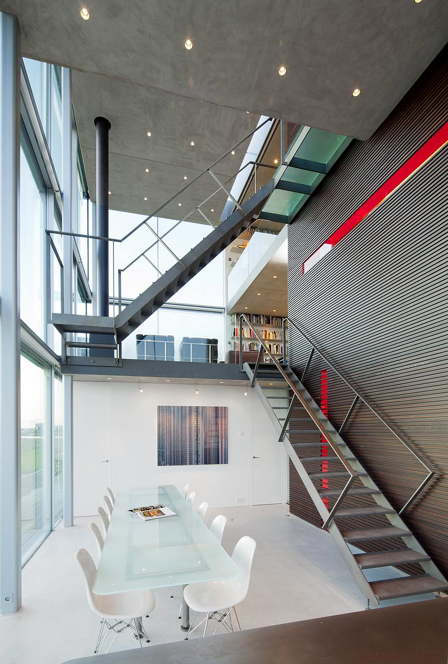 Dining Table, Stairs, Rieteiland House in Amsterdam by Hans van Heeswijk Architects