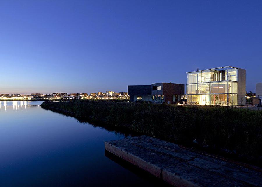 Dusk, Lighting, Lake view, Rieteiland House in Amsterdam by Hans van Heeswijk Architects