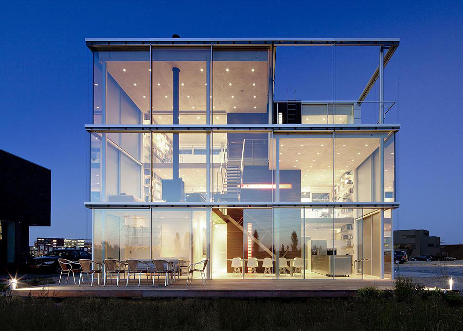 Dusk, Lighting, Rieteiland House in Amsterdam by Hans van Heeswijk Architects