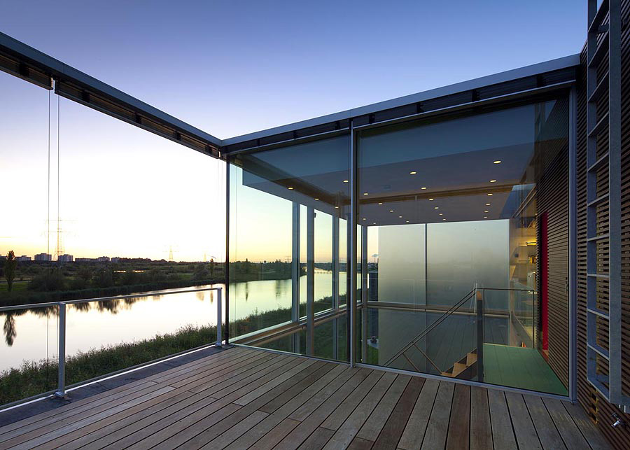Roof Terrace, Wooden Flooring, Rieteiland House in Amsterdam by Hans van Heeswijk Architects