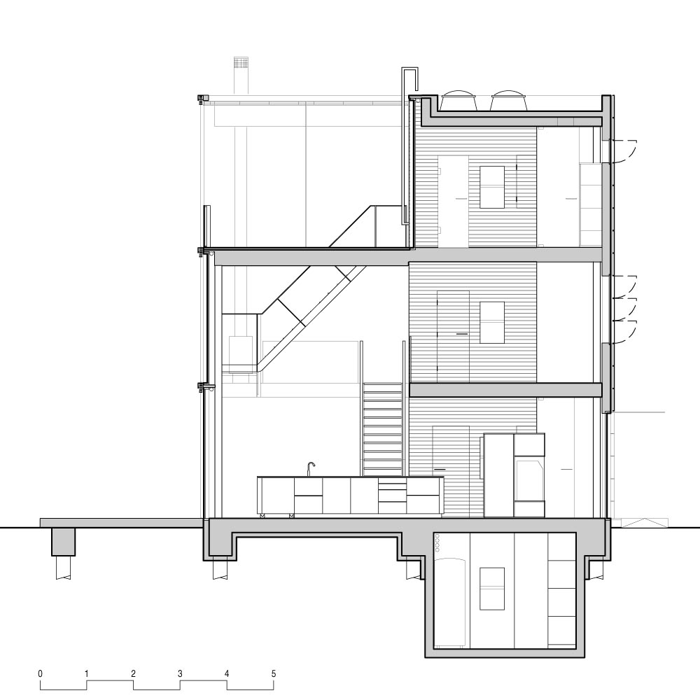 Section, Rieteiland House in Amsterdam by Hans van Heeswijk Architects
