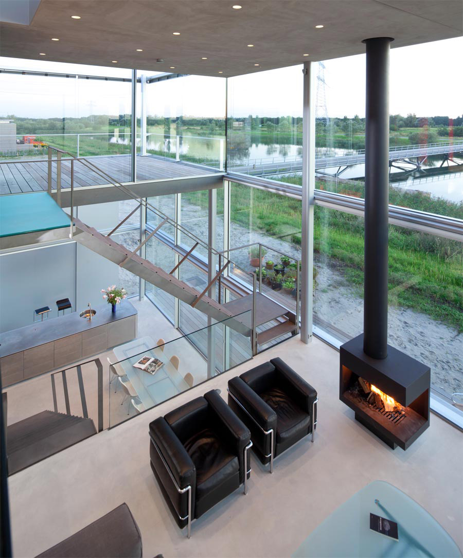 Stairs, Fireplace, Living Space, Chairs, Rieteiland House in Amsterdam by Hans van Heeswijk Architects