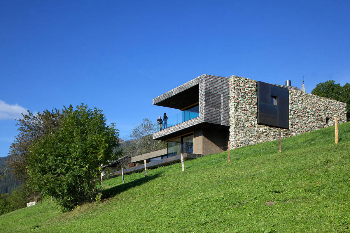 Balcony, Glass Balustrading, Kurt Brunner Residence in Sterzing, Italy