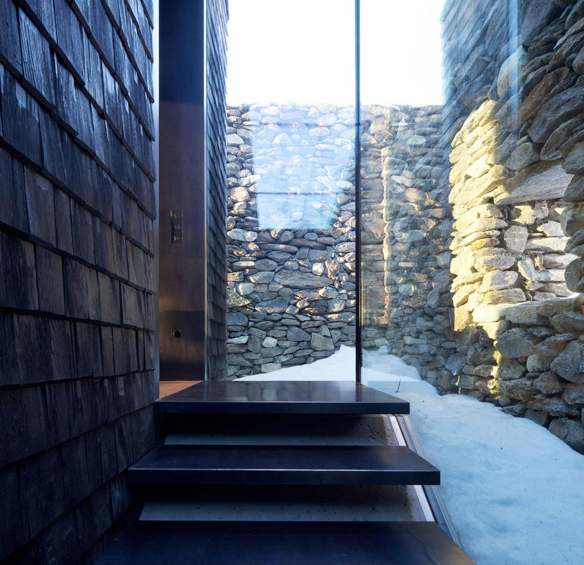 Steps, Glass Walls, Kurt Brunner Residence in Sterzing, Italy