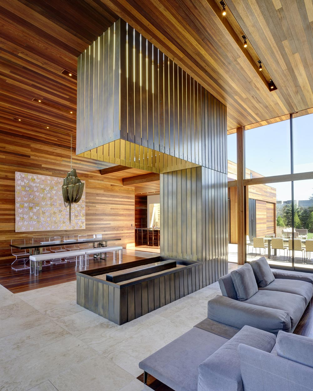 Contemporary Fireplace, Sam's Creek in Bridgehampton, New York by Bates Masi Architects