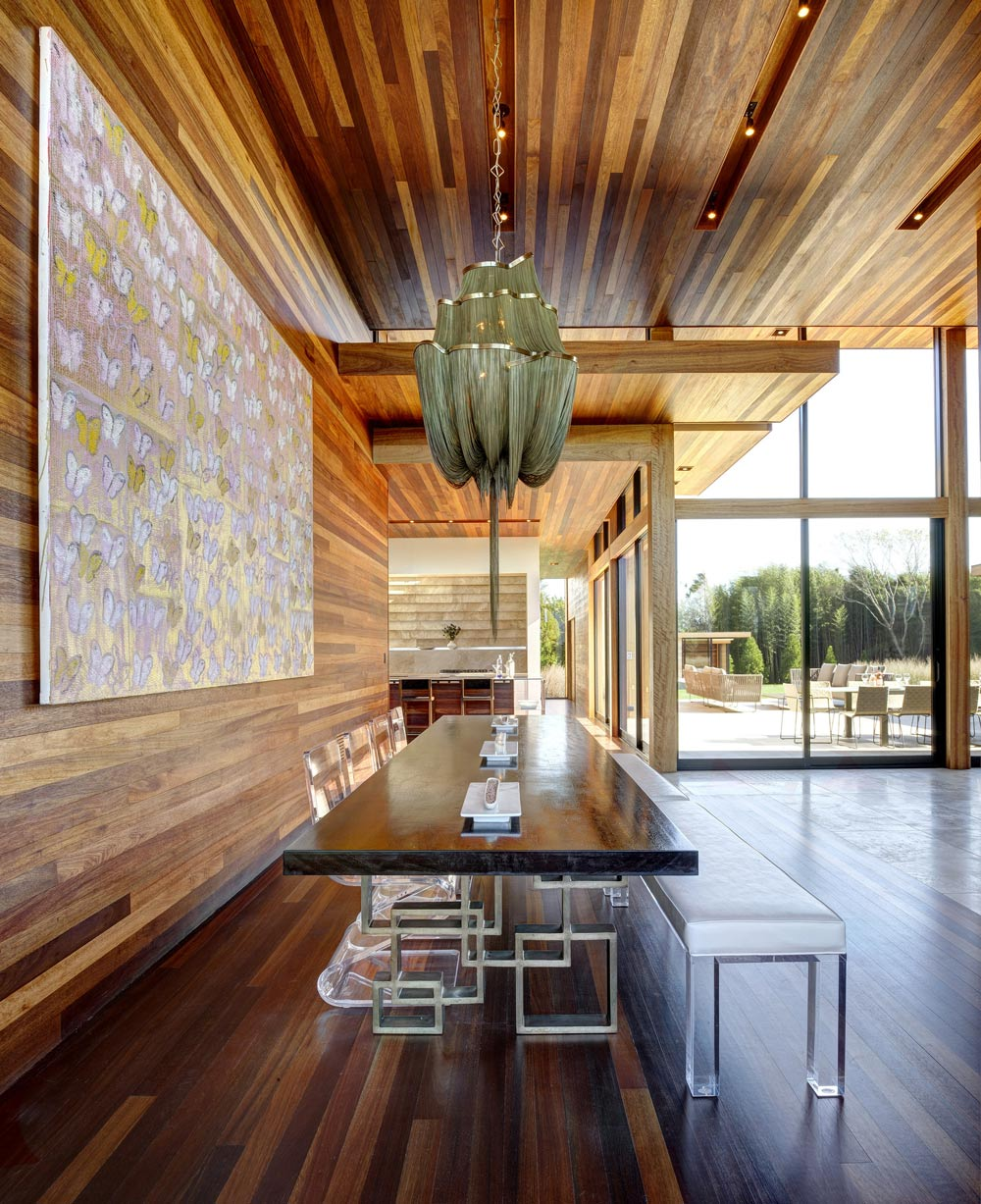 Dining Table, Acrylic Chairs, Sam's Creek in Bridgehampton, New York by Bates Masi Architects