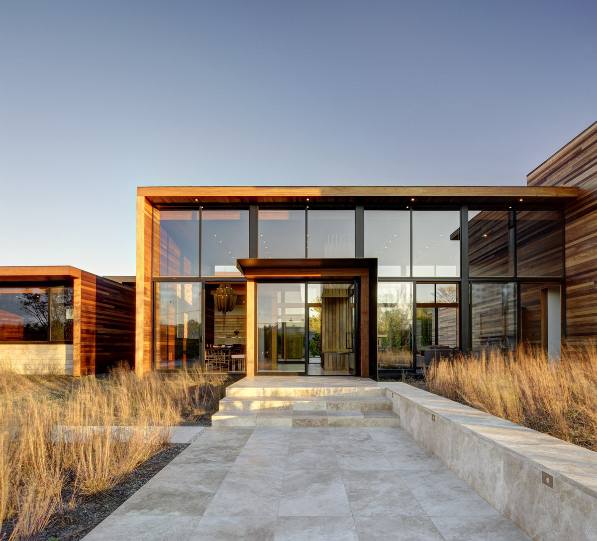 Glass Entrance, Sam's Creek in Bridgehampton, New York by Bates Masi Architects