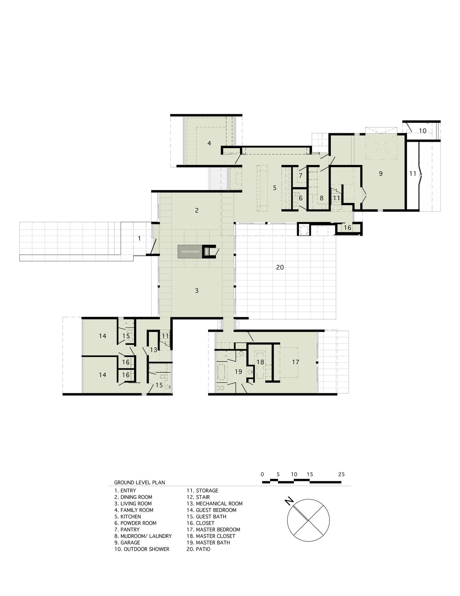 Ground Floor Plan, Sam's Creek in Bridgehampton, New York by Bates Masi Architects