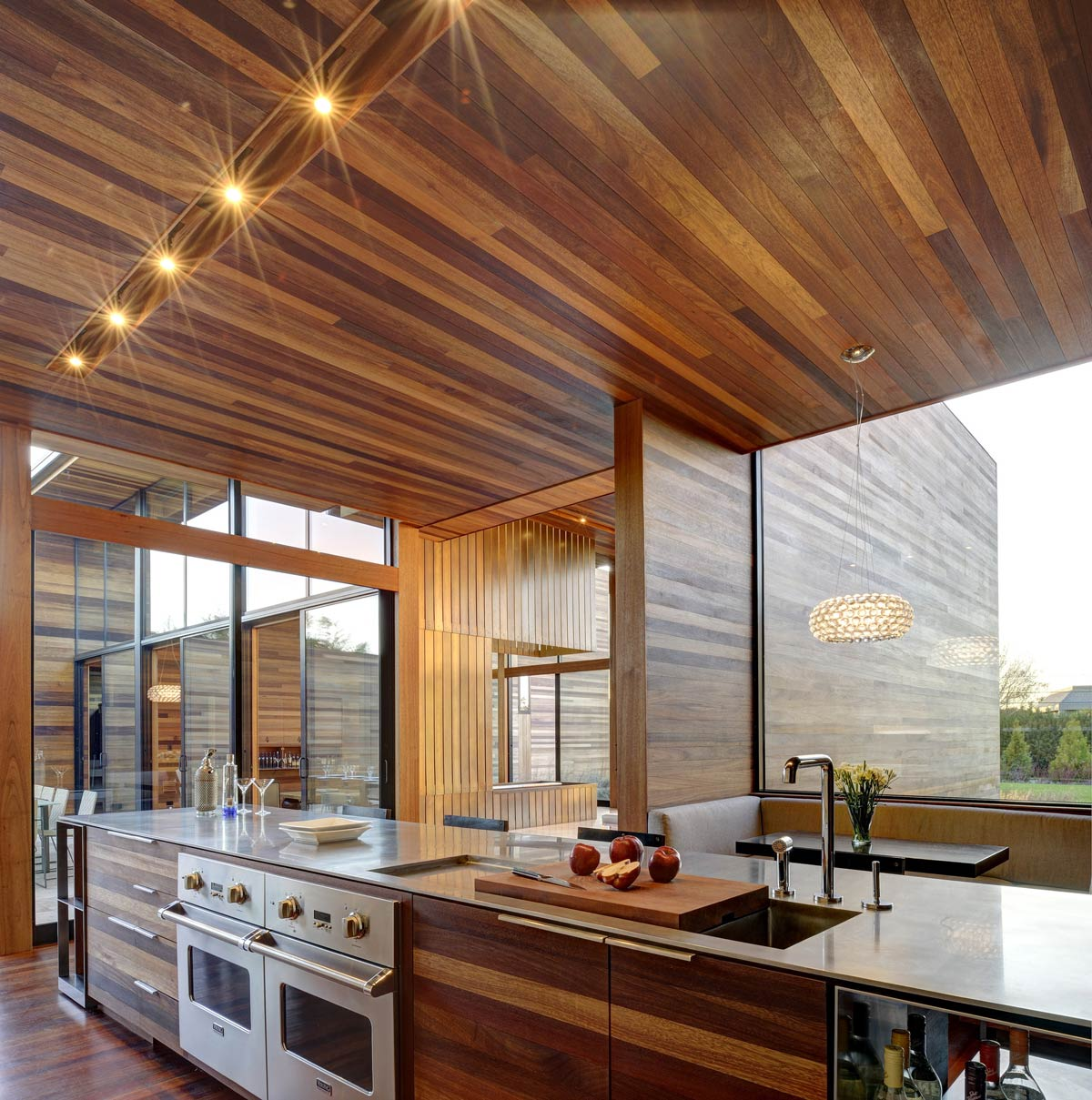 Wooden Kitchen Island, Sam's Creek in Bridgehampton, New York by Bates Masi Architects