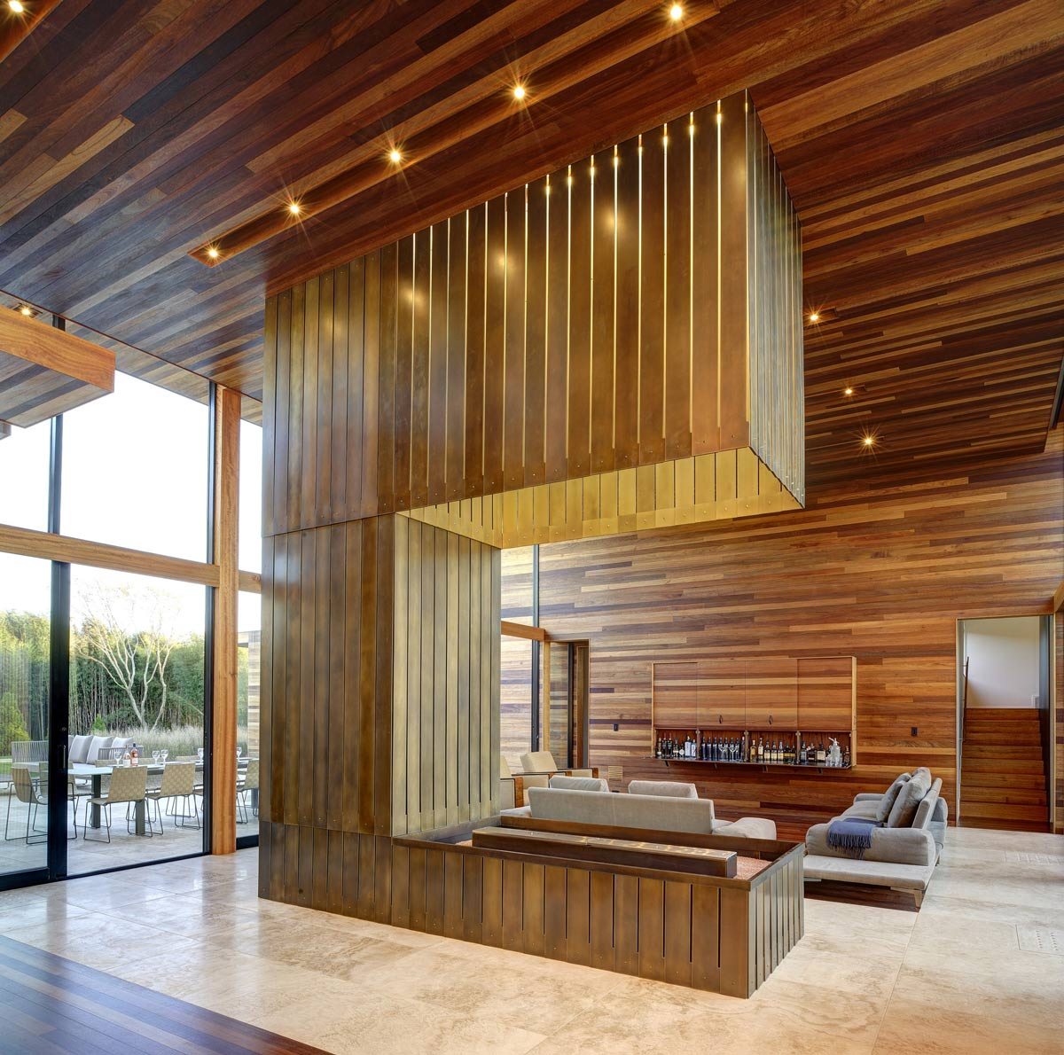 Modern Fireplace, Open Plan Living, Sam's Creek in Bridgehampton, New York by Bates Masi Architects