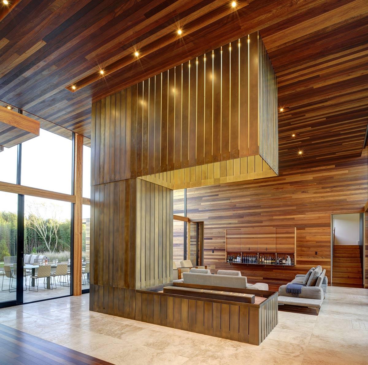 Modern Fireplace, Open Plan Living, Sam's Creek in Bridgehampton, New York by Bates Masi Architects
