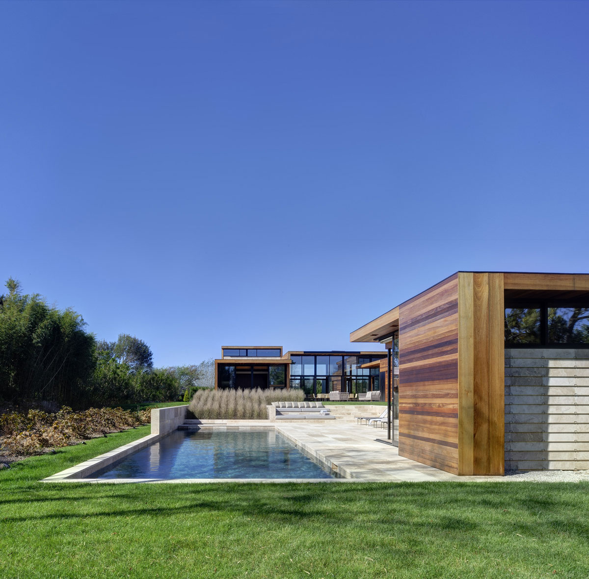 Outdoor Pool, Terrace, Sam's Creek in Bridgehampton, New York by Bates Masi Architects