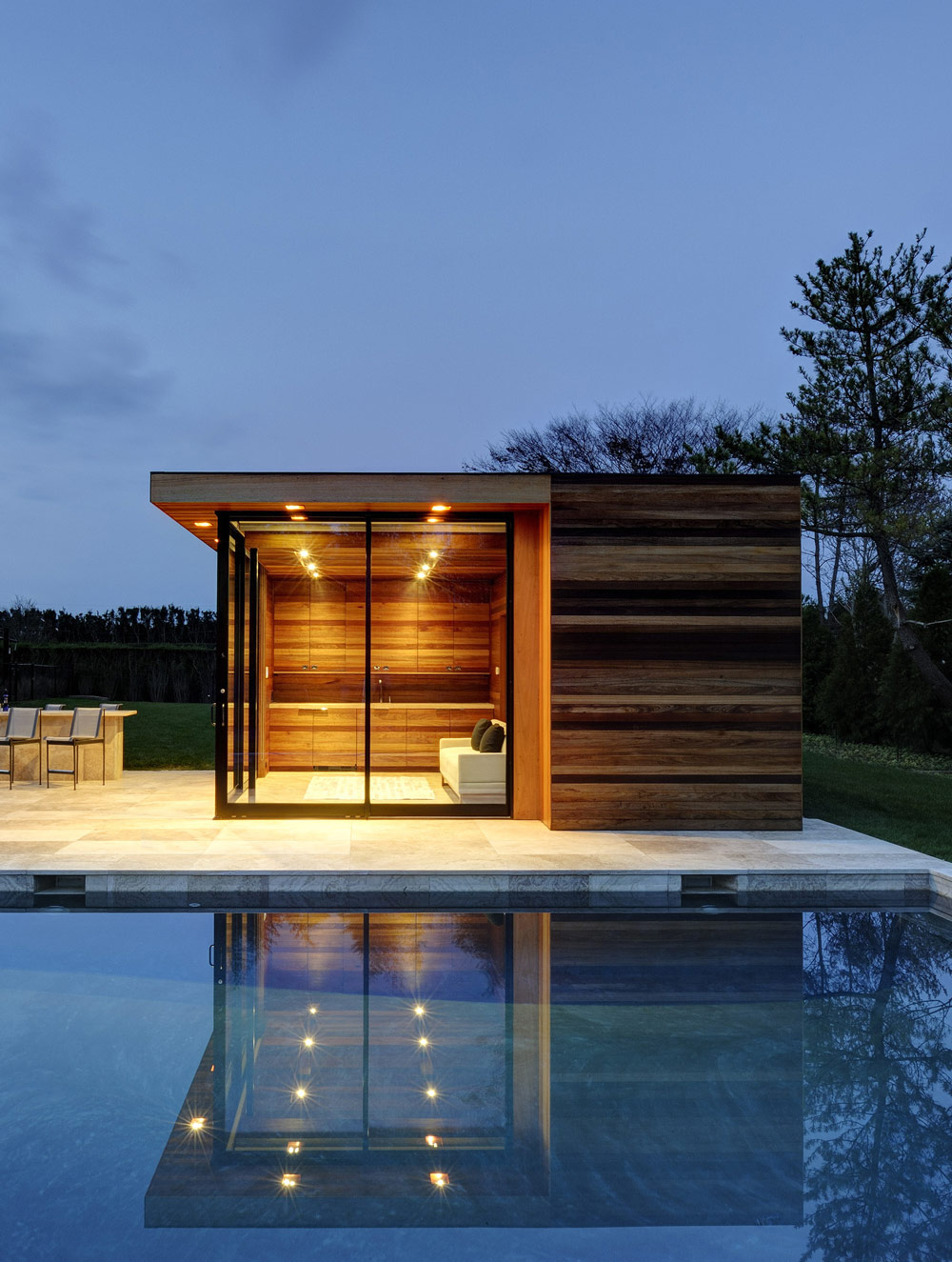 Pool House, Sam's Creek in Bridgehampton, New York by Bates Masi Architects
