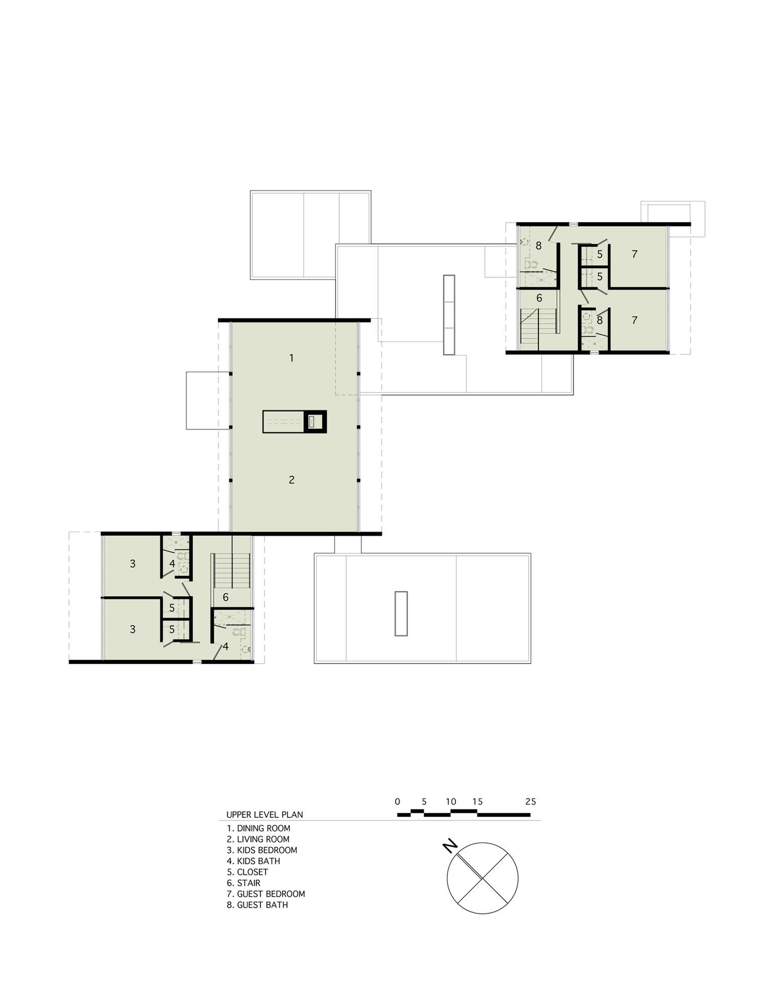 Upper Level Floor Plan, Sam's Creek in Bridgehampton, New York by Bates Masi Architects