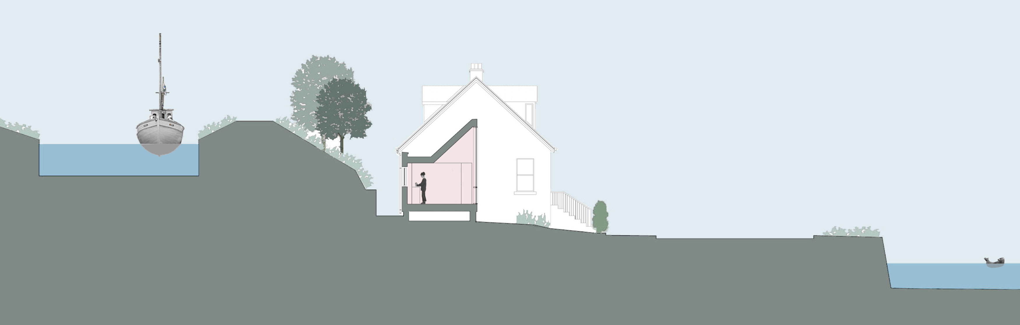 Elevation, The Sheiling, Overlooking Loch Fyne, Scotland by APD Architecture