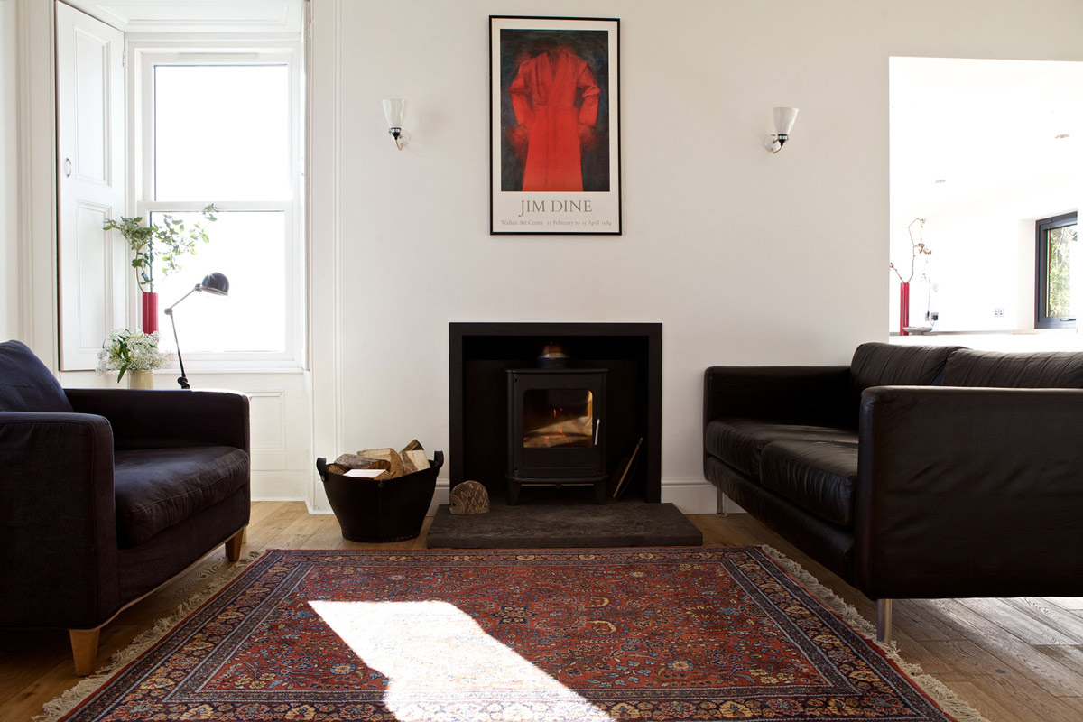 Fireplace, Sofas, Rug, Art, The Sheiling, Overlooking Loch Fyne, Scotland by APD Architecture
