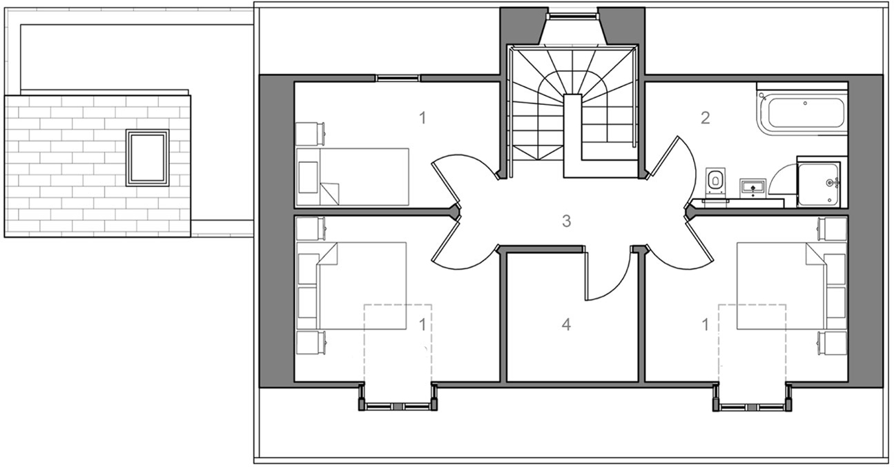 First Floor Plan, The Sheiling, Overlooking Loch Fyne, Scotland by APD Architecture