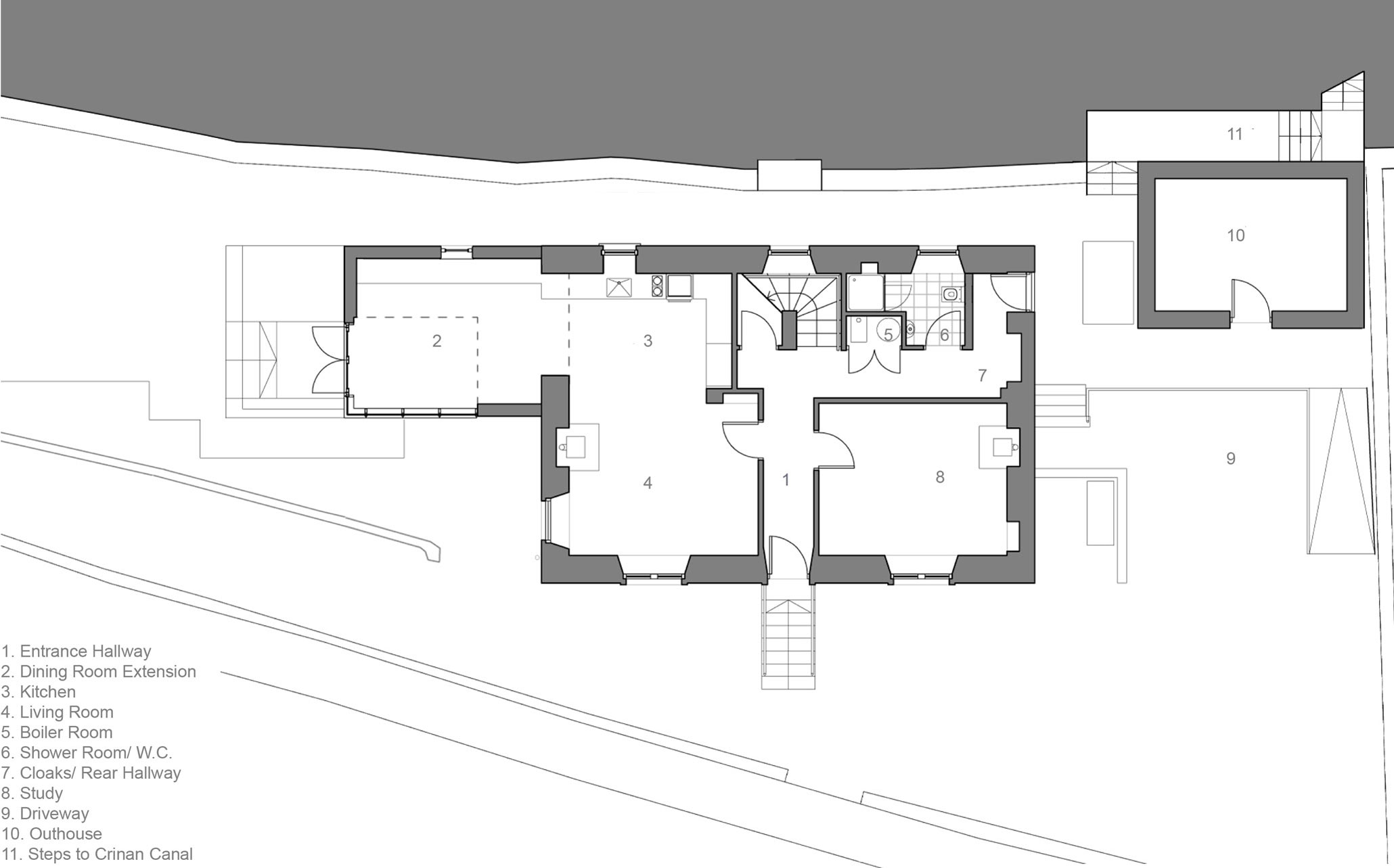 Ground Floor Plan, The Sheiling, Overlooking Loch Fyne, Scotland by APD Architecture