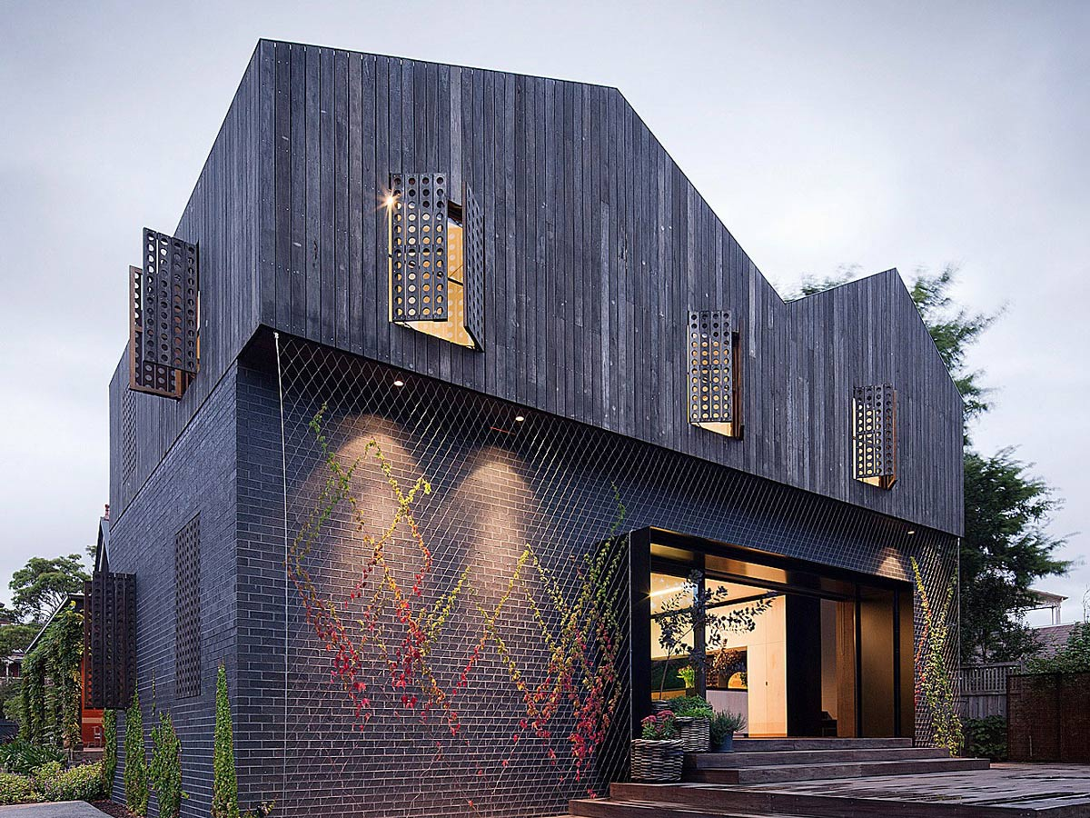Entrance, Twin Peaks House in Hawthorn, Australia by Jackson Clements Burrows
