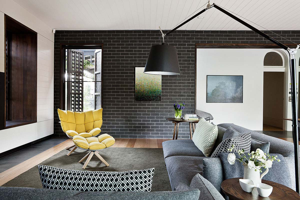 Living Space, Grey Sofas, Twin Peaks House in Hawthorn, Australia by Jackson Clements Burrows