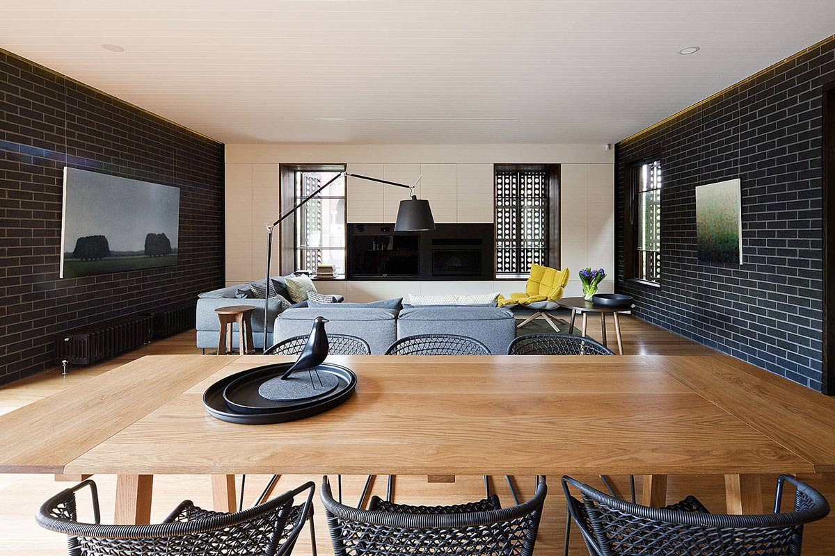 Open Plan Living, Dining, Art, Twin Peaks House in Hawthorn, Australia by Jackson Clements Burrows