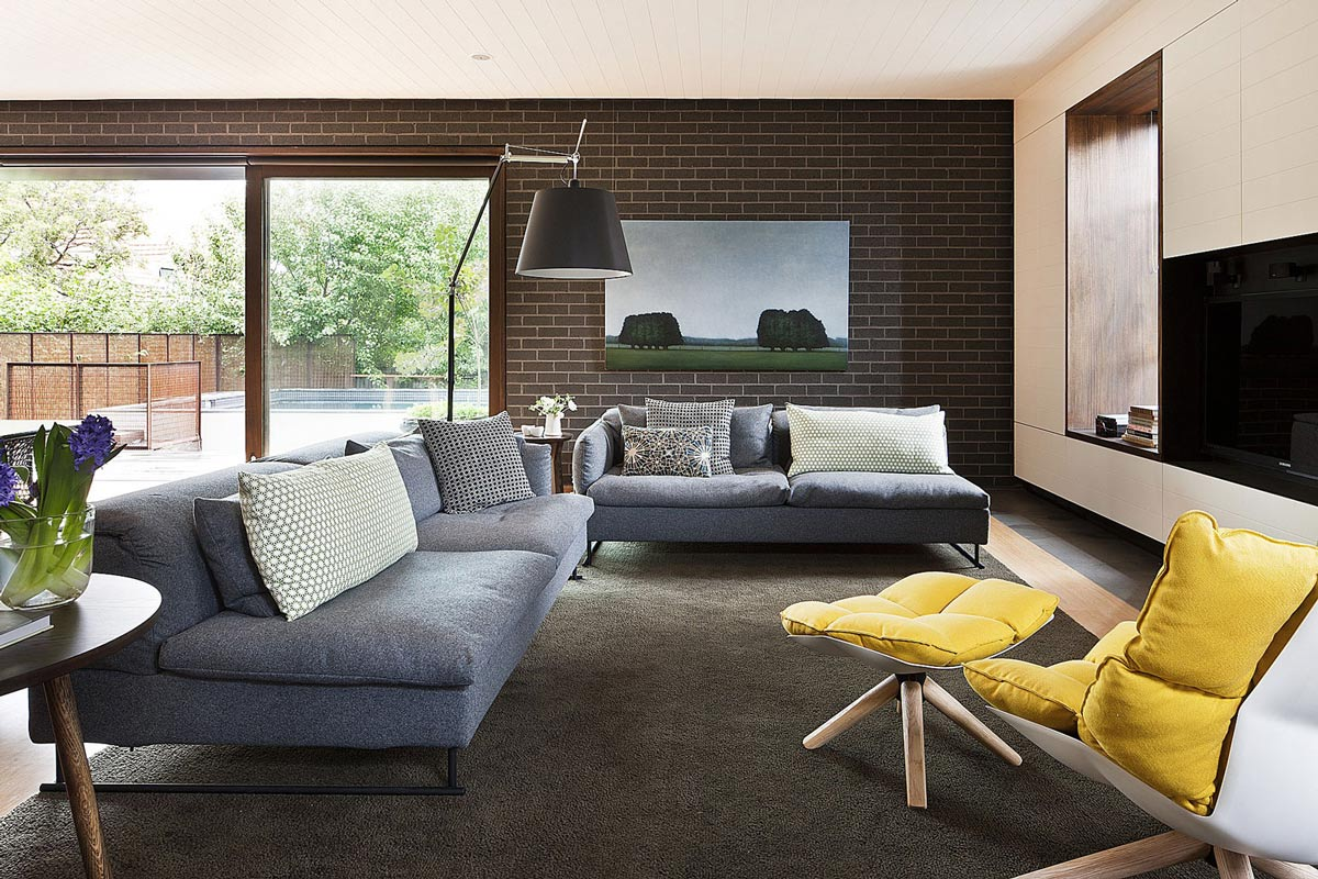 Rug, Grey Sofas, Living Space, Twin Peaks House in Hawthorn, Australia by Jackson Clements Burrows