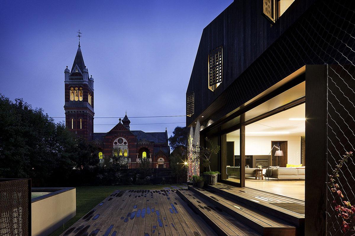 Terrace, Patio Doors, Twin Peaks House in Hawthorn, Australia by Jackson Clements Burrows