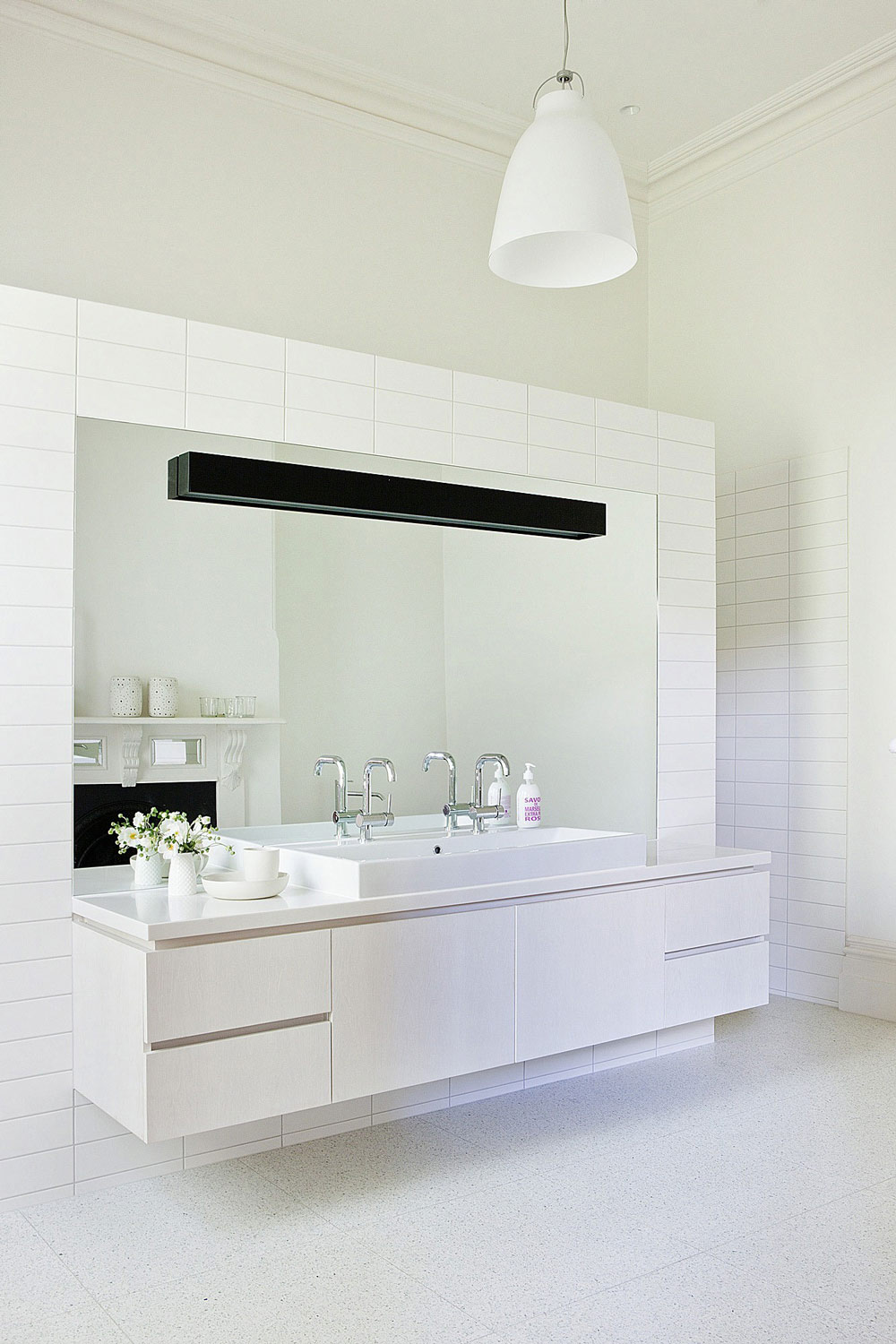 White Bathroom Sink, Twin Peaks House in Hawthorn, Australia by Jackson Clements Burrows