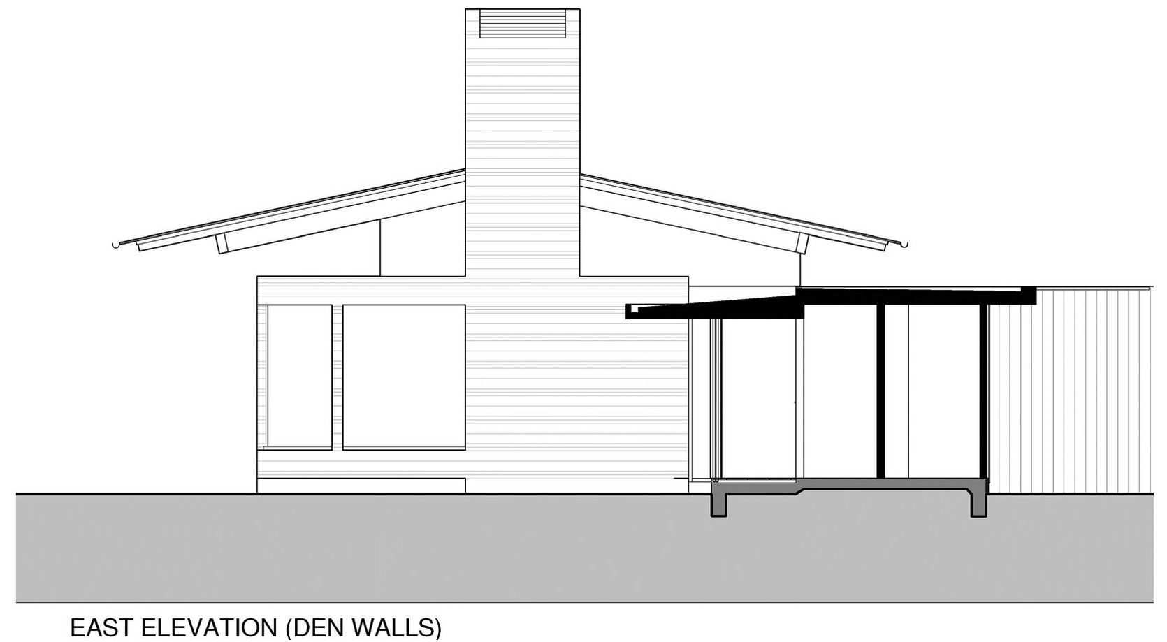 East Elevation, Den Walls, Wairau Valley House in Rapaura, New Zealand by Parsonson Architects