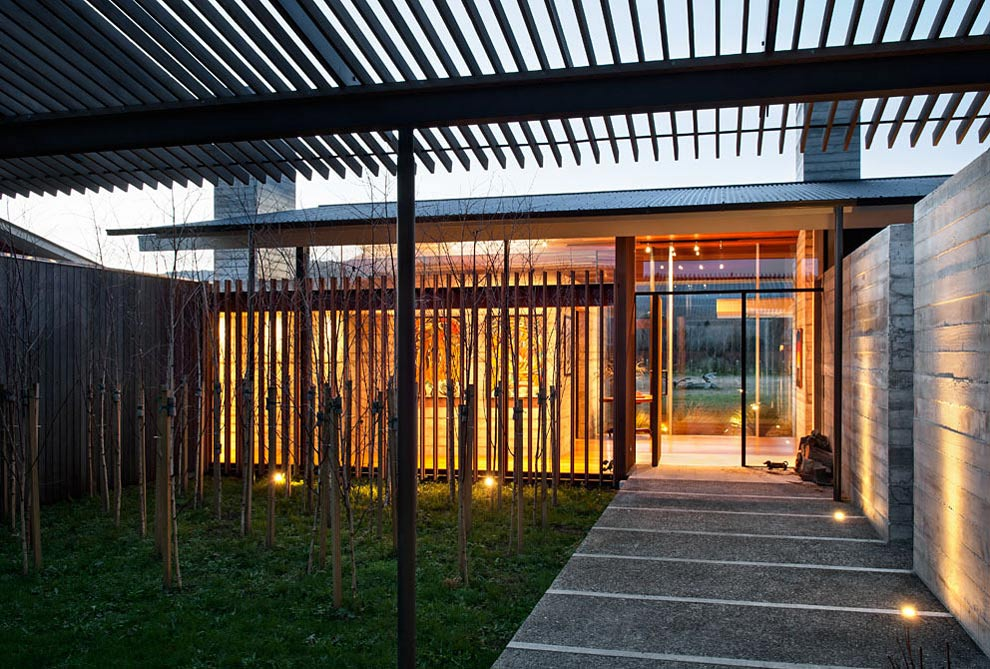 Entrance, Wairau Valley House in Rapaura, New Zealand by Parsonson Architects
