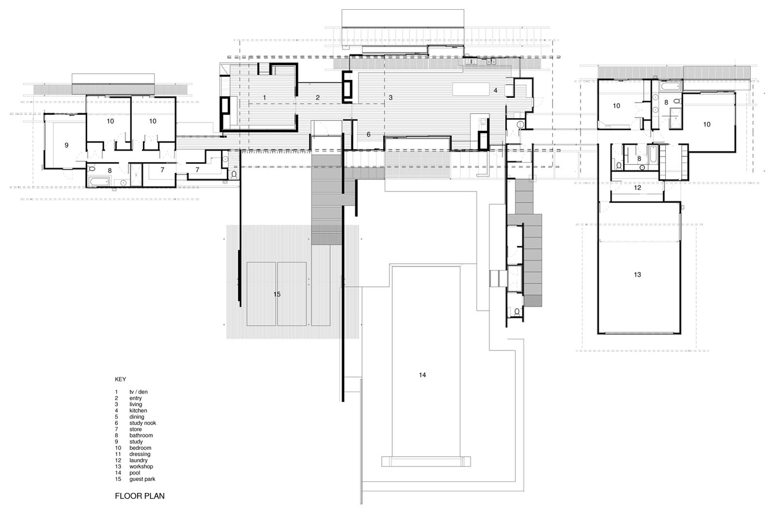 Floor Plan, Wairau Valley House in Rapaura, New Zealand by Parsonson Architects