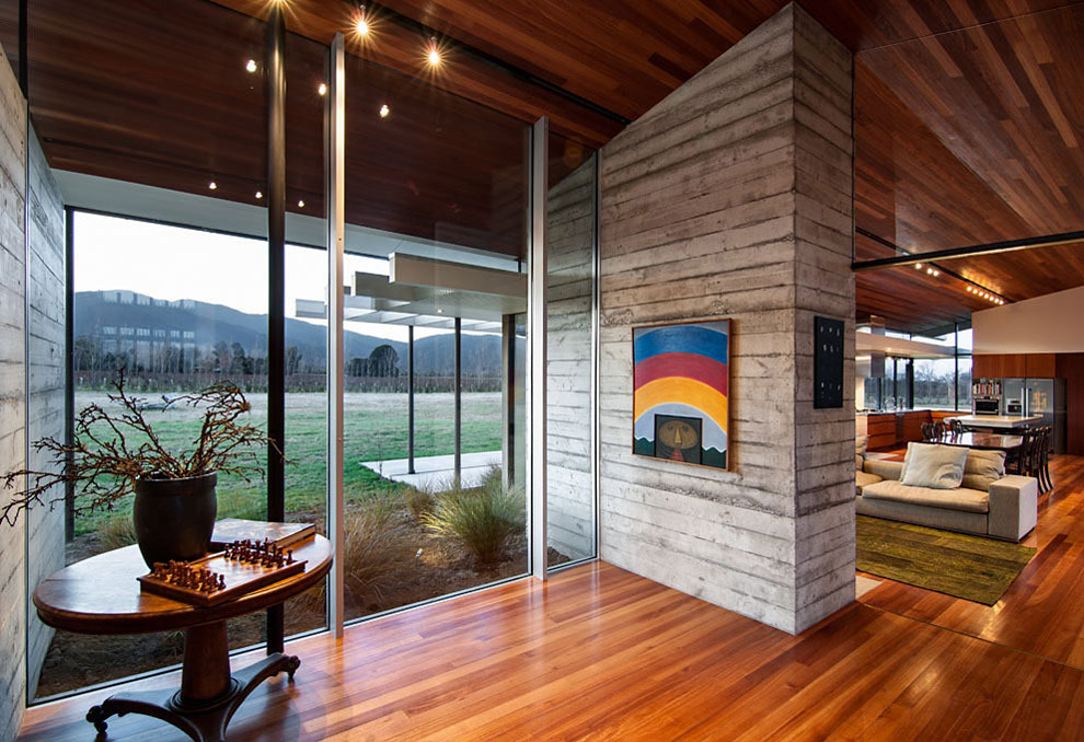 Glass Walls, Wooden Floor, Wairau Valley House in Rapaura, New Zealand by Parsonson Architects
