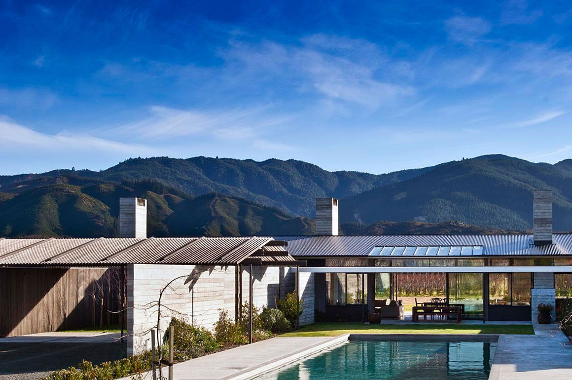 Pool, Terrace, Mountain Views, Wairau Valley House in Rapaura, New Zealand by Parsonson Architects