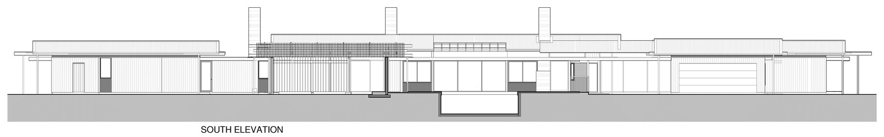 South Elevation, Wairau Valley House in Rapaura, New Zealand by Parsonson Architects