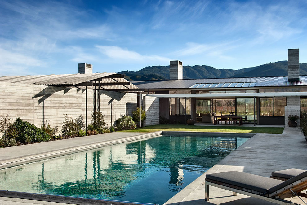 Terrace, Pool, Wairau Valley House in Rapaura, New Zealand by Parsonson Architects