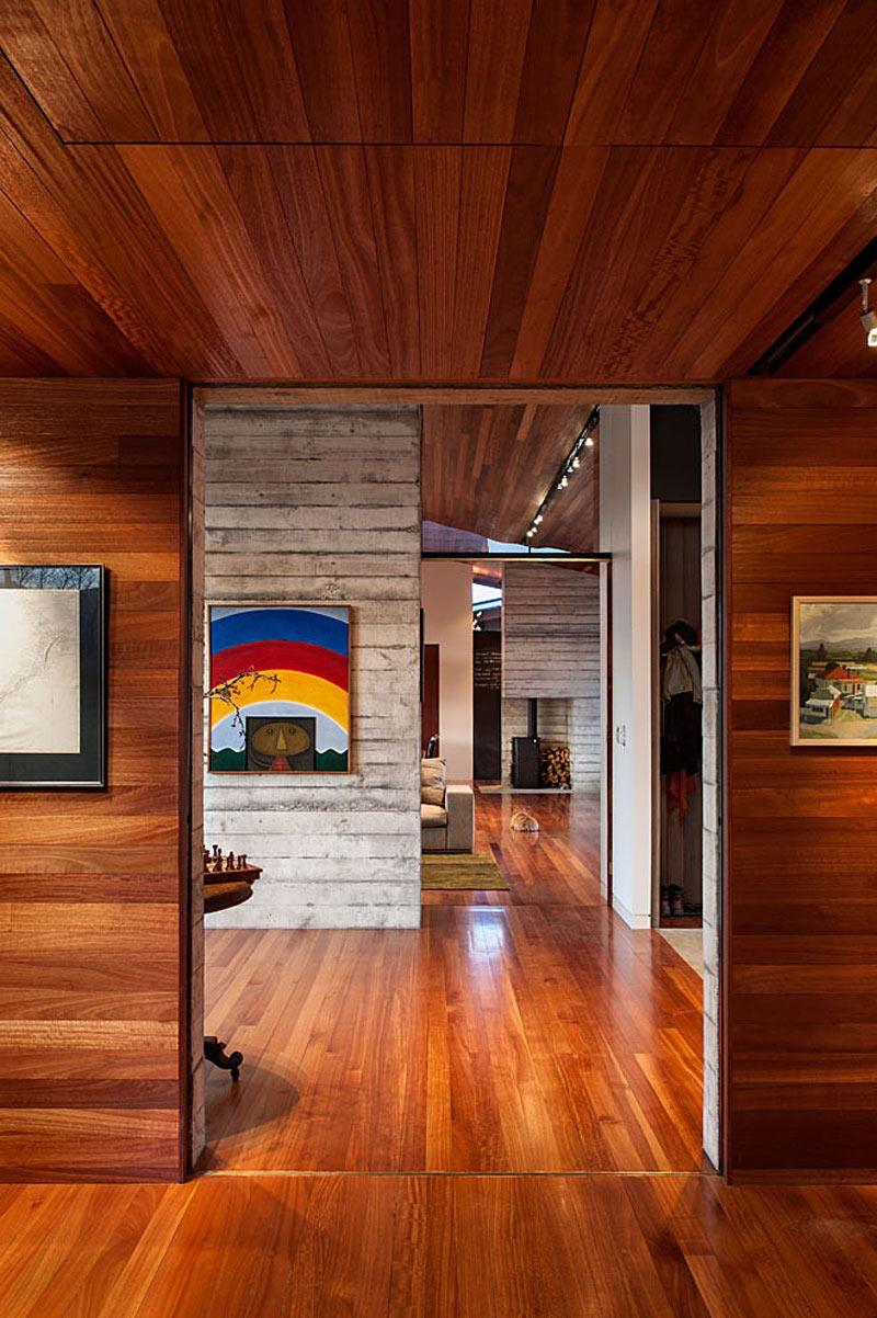 Wooden Walls & Flooring, Art, Wairau Valley House in Rapaura, New Zealand by Parsonson Architects